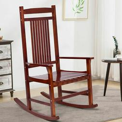 Solid Wood Porch Rocking Chair Rocker Indoor Outdoor Patio B
