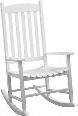 Solid Wood Slat Rocking Chair Porch Patio Indoor Outdoor Whi