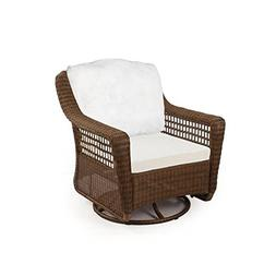 Spring Haven Brown All-Weather Wicker Patio Swivel Rocker Ch