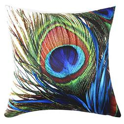 square peacock printed stuffed cushion polyester sateen