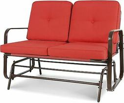 Steel Glider Bench Loveseat Outdoor Patio Garden Front Porch