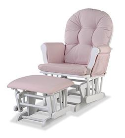 Stork Craft Hoop Custom Glider and Ottoman - White/Pink Blus