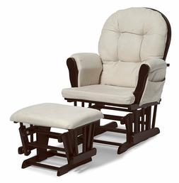 Beige Bowback Glider Rocker Chair with Ottoman Beige Cushion