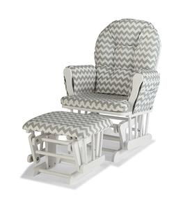 Storkcraft Custom Hoop Glider and Ottoman, White/Gray Chevro