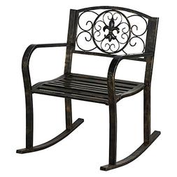 Topeakmart Sturdy Patio Metal Rocking Chair Porch Seat Deck