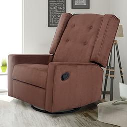 Giantex Swivel Gliding Recliner Rocker Chair Suede Tufted Up