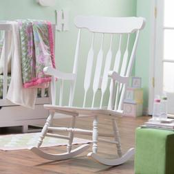 Traditional Classic Spindle Styled White Wood Rocking Chair