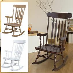 Traditional Slat Wood Rocking Chair Indoor Porch Rocker  Dec