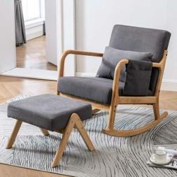 Upholstered Rocking Accent Chair Baby Glider w/ Ottoman Stoo