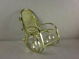 Vintage Miniature Doll House Accessories Brass Rocking Chair