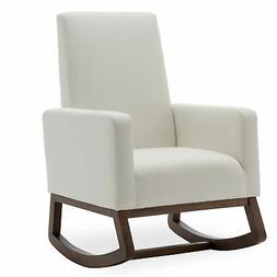 White Modern Rocking Chair Upholstered Fabric High Back Arm