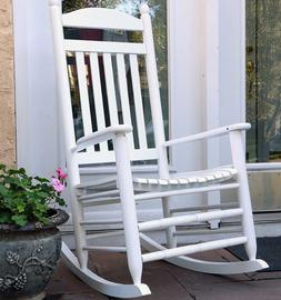 WHITE Wooden Porch Rocker Rocking Chair Furniture Baby Nurse