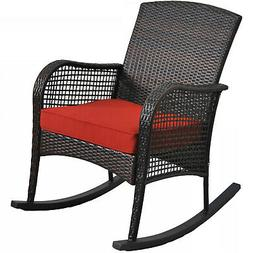 Wicker Outdoor Rocking Chair Porch Deck Rocker Patio Deck Fu
