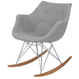 LeisureMod Willow Fabric Eiffel Base Modern Rocking Chair, S