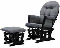 Angel Line Windsor Glider and Ottoman, Black w/ Dark Gray Cu