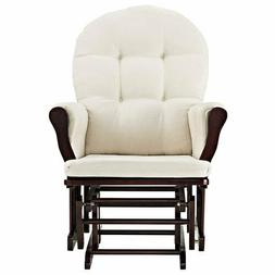 Angel Line Windsor Glider and Ottoman Espresso Finish and Be