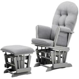 Angel Line Windsor Glider and Ottoman, Gray Finish and Gray