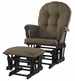Angel Line Windsor Glider and Ottoman Set, Espresso with Cho