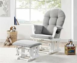 Angel Line Windsor Glider and Ottoman White & Gray~Smooth Gl