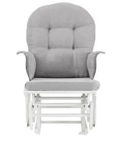 Angel Line Windsor Glider And Ottoman, White Finish And Gray
