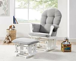 Angel Line Windsor Glider and Ottoman White Finish With Gray