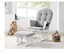 Angel Line Windsor Glider and Ottoman White Gray Cushion Nur