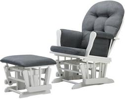 Angel Line Windsor Glider And Ottoman, White W/ Dark Gray Cu