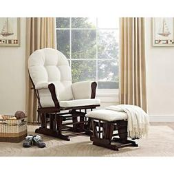 Windsor Glider and ottoman-espresso w/ beige cushion