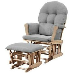 Angel Line Windsor Glider and Ottoman Natural with Gray Cush