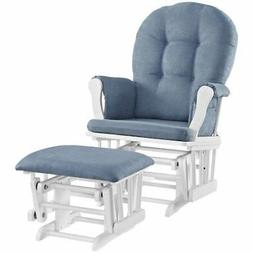 Angel Line Windsor Glider and Ottoman Set, White with Blue C
