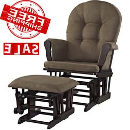 Windsor Glider Ottoman Set Espresso With Chocolate Chair Cus