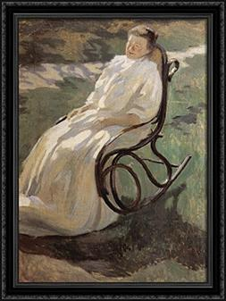 Woman in rocking chair 28x38 Large Black Ornate Wood Framed