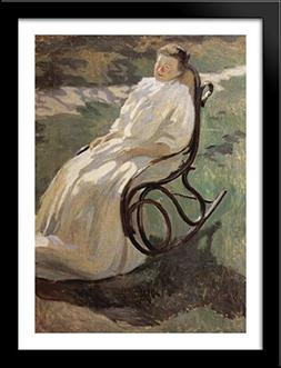Woman in rocking chair 28x38 Large Black Wood Framed Print A