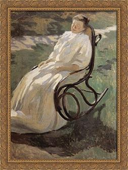 Woman in rocking chair 28x38 Large Gold Ornate Wood Framed C