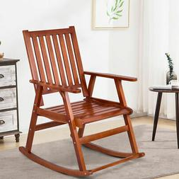 Wood Rocking Chair Single Porch Rocker Indoor Outdoor Patio