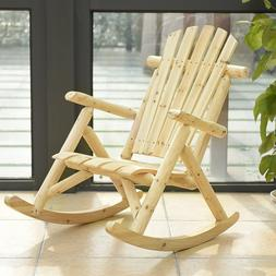 Wood Single Porch Rocker Lounge Patio Rocking Chair Furnitur