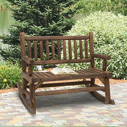 Outsunny Wooden Rocking Chair 2-Person Outdoor Bench w/ Fir