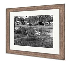 Ashley Framed Prints Wooden Rocking Chair with Iron Chain in