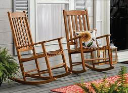 Wooden Rocking Chair Patio Furniture Sturdy Indoor Outdoor F