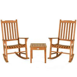 Wooden Rocking Chair Set with Coffee Table - Set of 2 Chairs